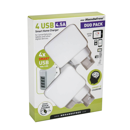 Mr Handsfree USB netvoeding adapter 4xUSB 2-pack