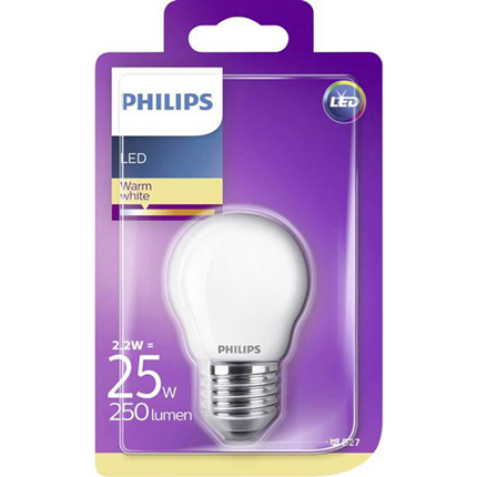 Philips LED lamp E27 2.2 watt 250Lm Kogel mat