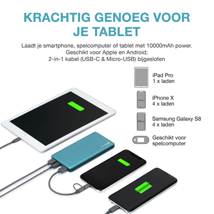 GP Portable Powerbank Aqua 10000mAh 2xUSB A 1xUSB
