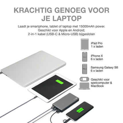 GP Portable Powerbank Grijs 15000mAh 2xUSB A 1xUSB