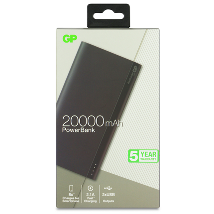 GP Portable Powerbank Grijs 20000mAh 2x USB