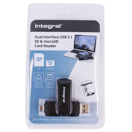 Integral kaartlezer USB SD/microSD met USB-C aansluiting