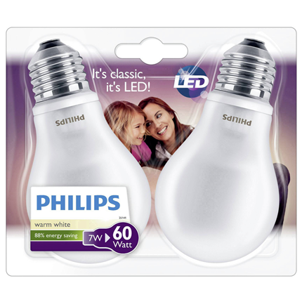 Philips Led lamp E27 Peer 7W 806 Lm 2 Stuks