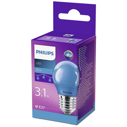 Philips LED Lamp E27 3,1W Blauw