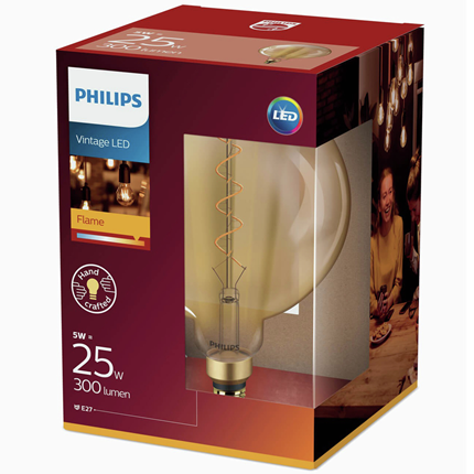 Philips Grote Bol E27 Flame 5W 300 Lm