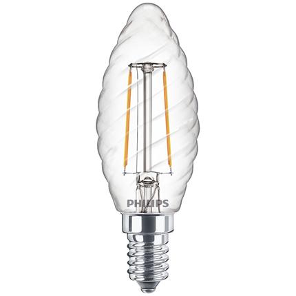 Philips Led Lamp E14 2W Kaars Gedraaid