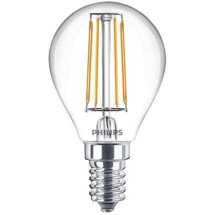 Philips LED Lamp E14 4,3W Kogel Helder