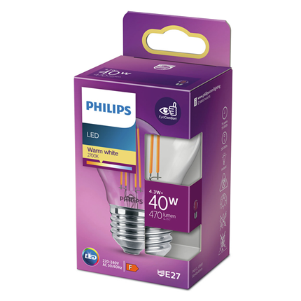 Philips LED Lamp E27 4,3W Kogel Helder