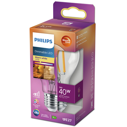 Philips LED Lamp E27 5W Dimbaar