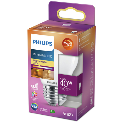 Philips LED Lamp E27 4,5W Kogel Dimbaar