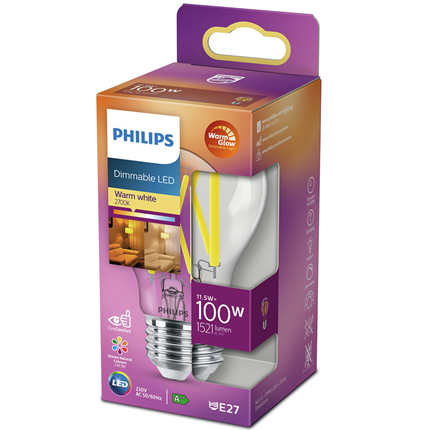 Philips LED Lamp E27 11,5W Dimbaar