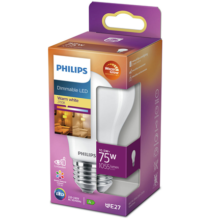 Philips LED Lamp E27 10,5W Peer Dimbaar