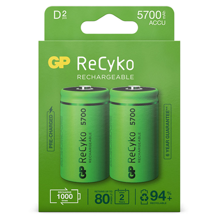 GP ReCyko D 5700mAh 2 stuks Oplaadbare NiMH Batterij