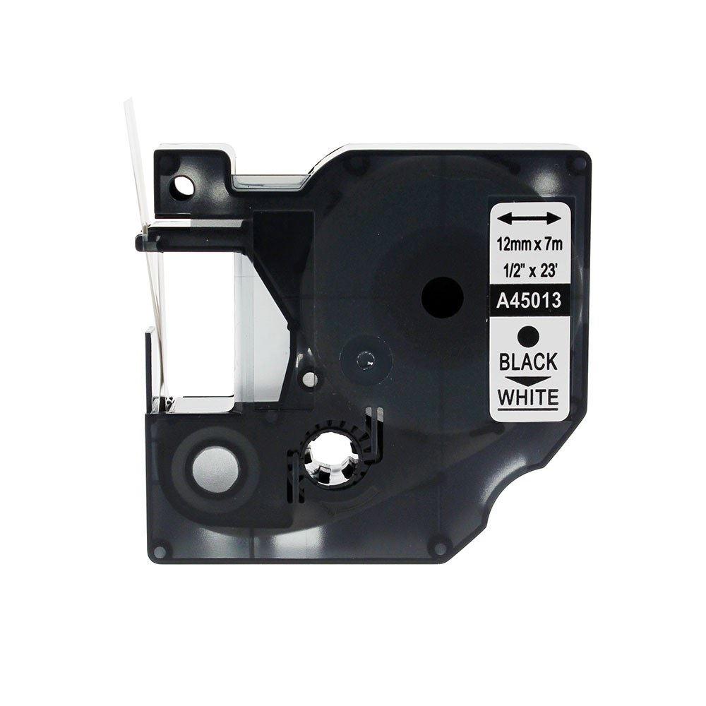 Dymo Alternatief D1 Standaard Labels Wit-Zwart Tape 12mm