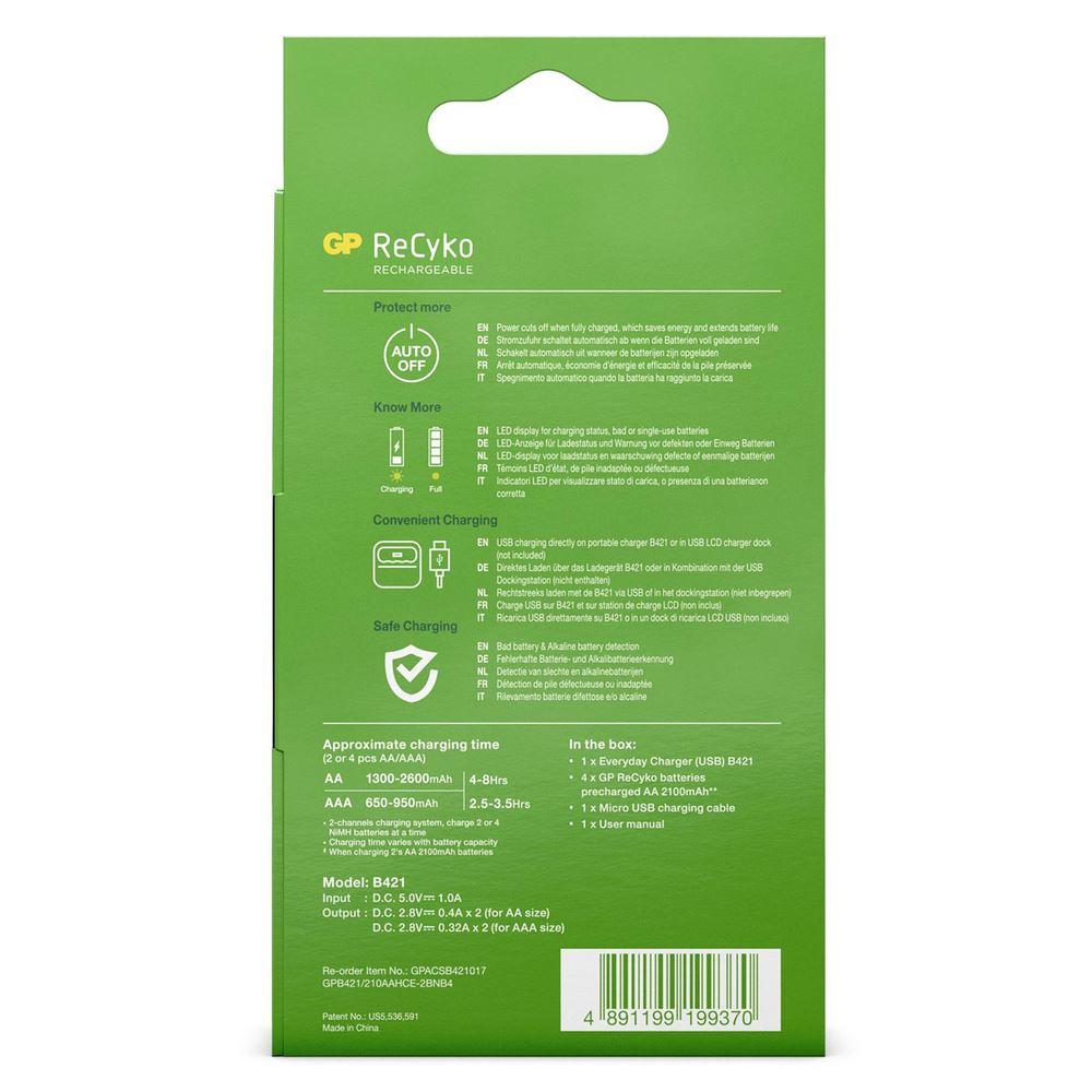 GP ReCyko Batterijlader USB B421 inc 4x AA 2100 mAh Batterijen