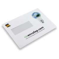 Printed Envelopes, 4 colours, window left 110 mm x 220 mm White