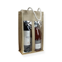 Jute Wine Carrier Bag 13.78 inch x 7.87 inch Brown