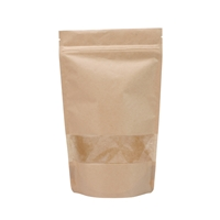 Lamizip Kraft Paper Stand Up Pouches with window 100 mm x 195 mm Brown