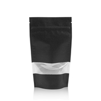 Lamizip Kraft Paper Stand Up Pouches with window 6.30 inch x 10.43 inch Black