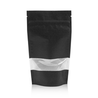 Lamizip Kraft Paper Stand Up Pouches with window 185 mm x 295 mm Black