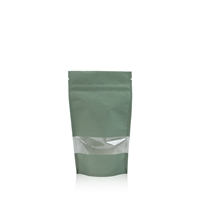 Lamizip Kraft Paper Stand Up Pouches with window 3.94 inch x 7.68 inch Green