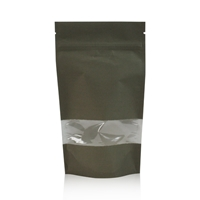 Lamizip Kraft Paper Stand Up Pouches with window 7.28 inch x 11.61 inch Dark green