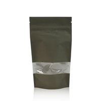 Lamizip Kraft Paper Stand Up Pouches with window 6.30 inch x 10.43 inch Dark green