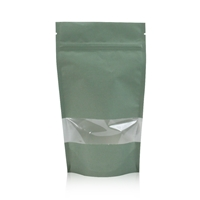 Lamizip Kraft Paper Stand Up Pouches with window 7.28 inch x 11.61 inch Green