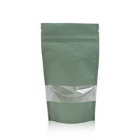Lamizip Kraft Paper Stand Up Pouches with window 6.30 inch x 10.43 inch Green