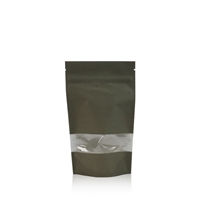 Lamizip Kraft Paper Stand Up Pouches with window 120 mm x 210 mm Dark green
