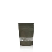 Lamizip Kraft Paper Stand Up Pouches with window 95 mm x 150 mm Dark green