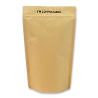 Kraft / PLA Compostable Stand Up Pouches 6.65 inch x 9.92 inch Brown