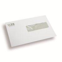 Printed Envelopes, 2 colours, window rights 110 mm x 220 mm White