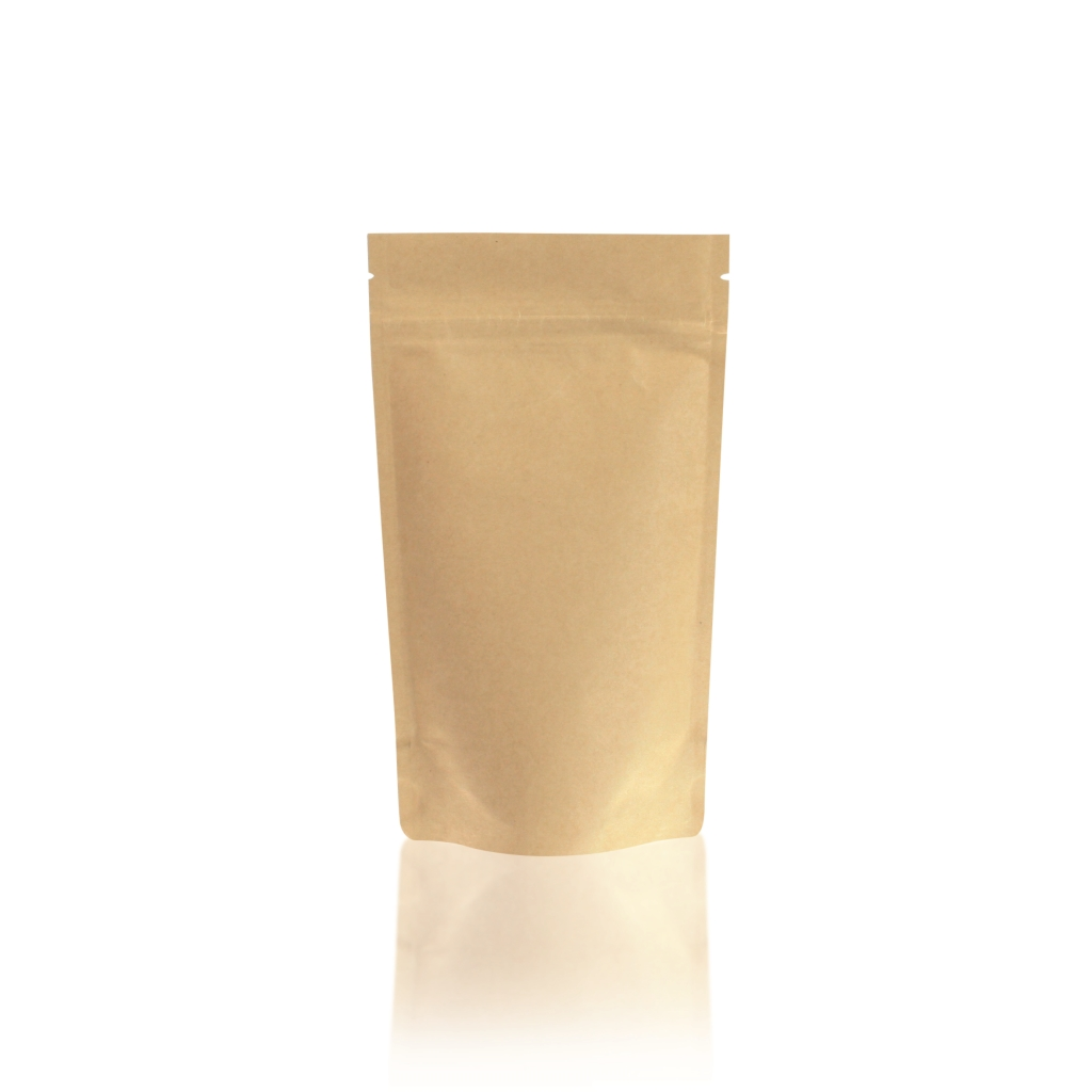 Lamizip Kraft Paper Stand Up Pouches with valve 140 mm x 235 mm Brown