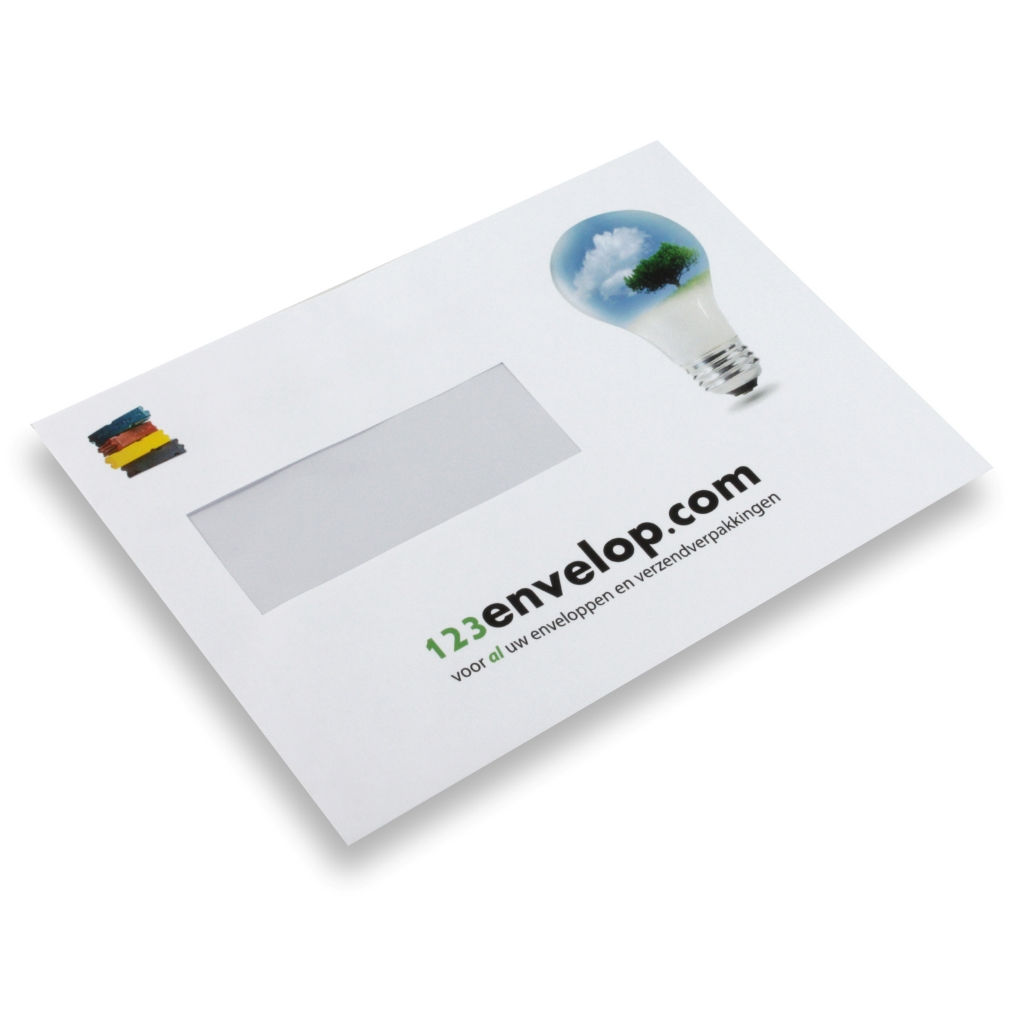 Printed Envelopes, 2 colors, window left 110 mm x 220 mm White