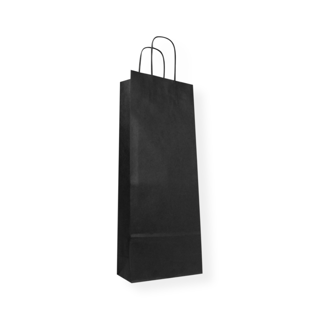 Paper Wine bag 150 mm x 395 mm Black