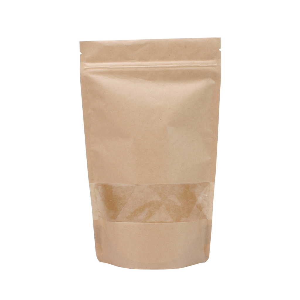 Lamizip Kraft Paper Stand Up Pouches with window 185 mm x 295 mm Brown