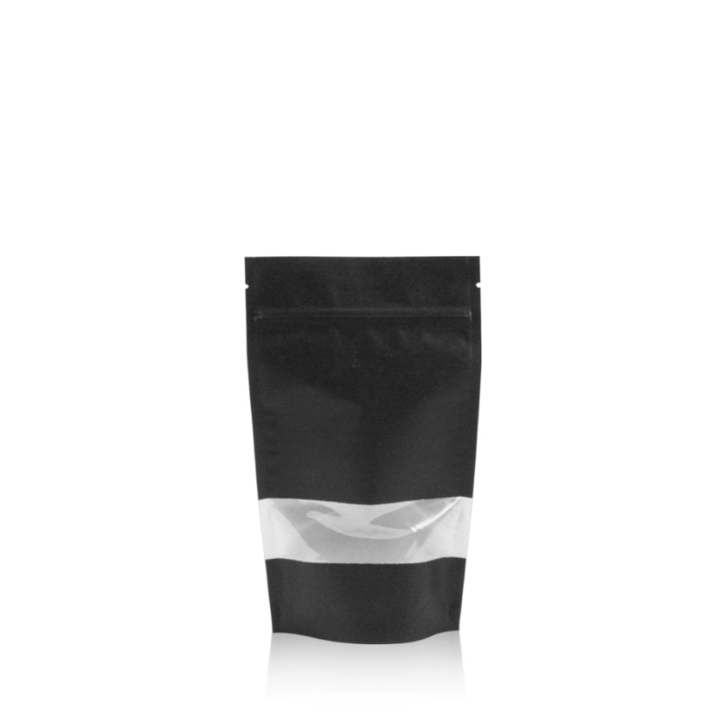 Lamizip Kraft Paper Stand Up Pouches with window 100 mm x 195 mm Black