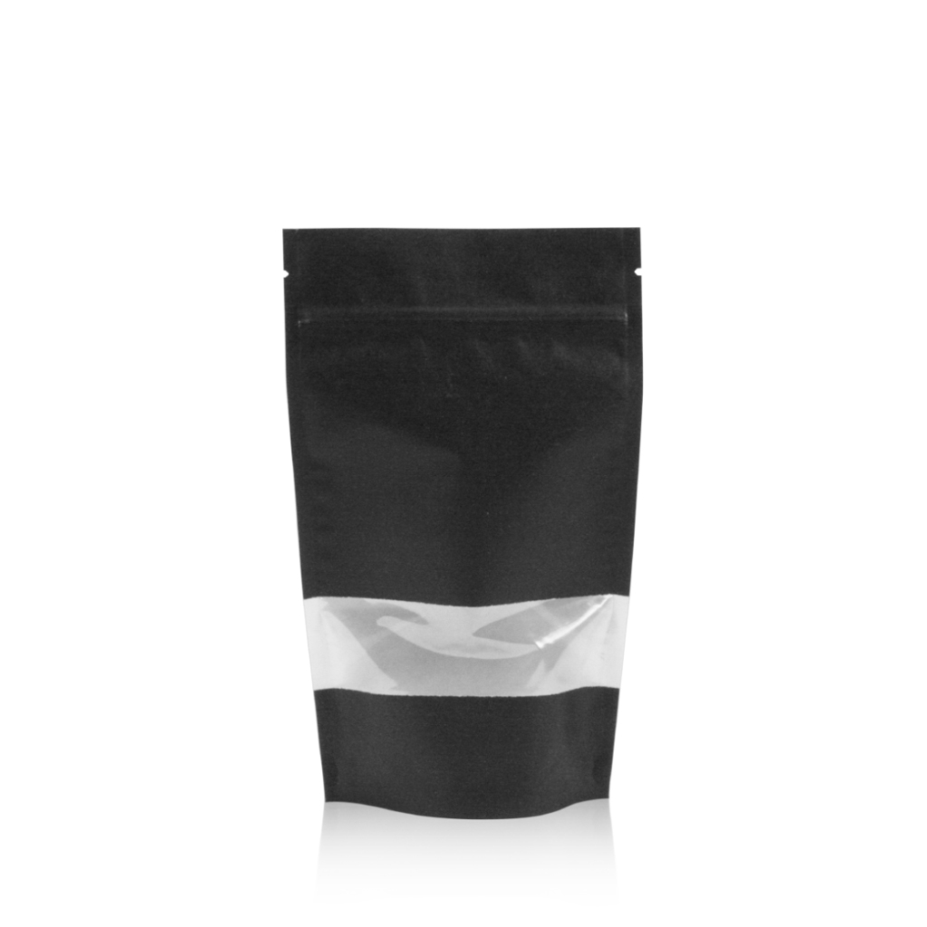 Lamizip Kraft Paper Stand Up Pouches with window 140 mm x 235 mm Black