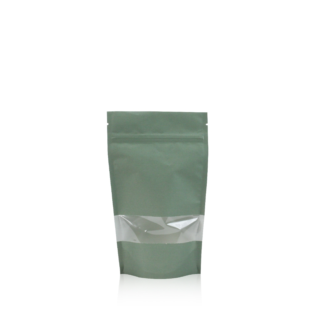 Lamizip Kraft Paper Stand Up Pouches with window 100 mm x 195 mm Green