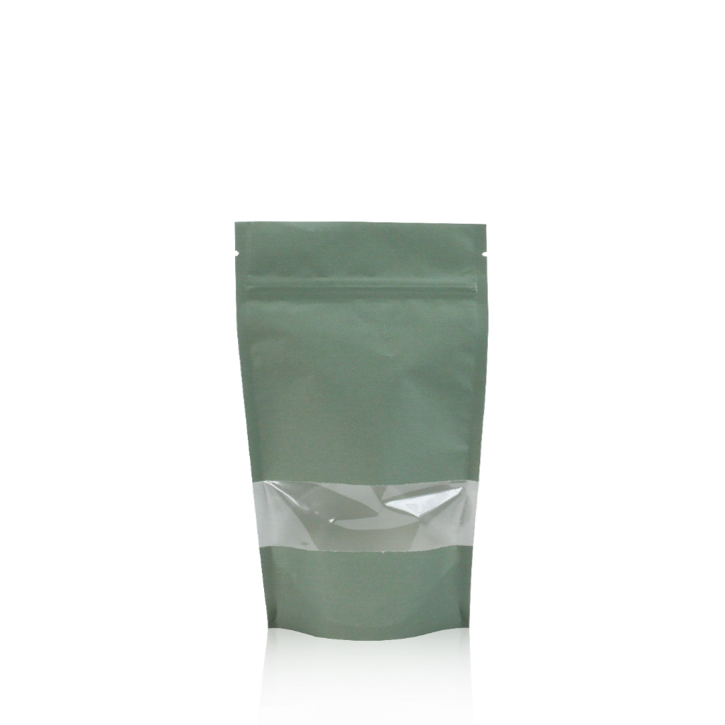 Lamizip Kraft Paper Stand Up Pouches with window 120 mm x 210 mm Green