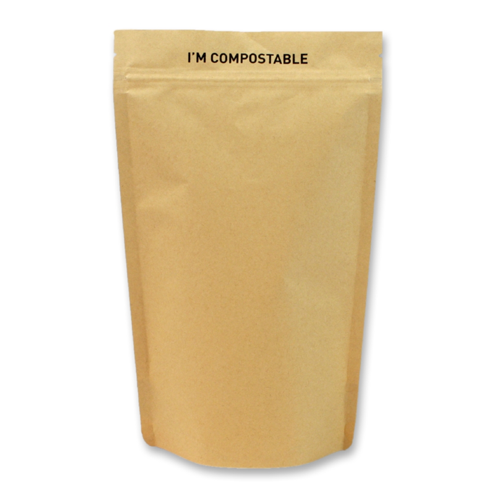 Kraft / PLA Compostable Stand Up Pouches 140 mm x 235 mm Brun