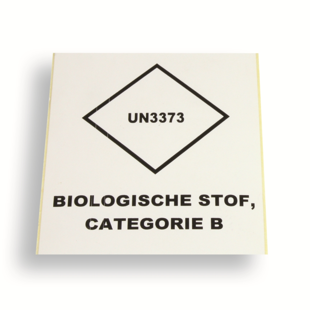 Label UN3373 Wit