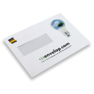 Printed Envelopes, 2 colors, window left 156 mm x 220 mm White