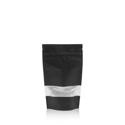 Lamizip Kraft Paper Stand Up Pouches with window 3.94 inch x 7.68 inch Black