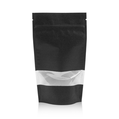 Lamizip Kraft Paper Stand Up Pouches with window 7.28 inch x 11.61 inch Black