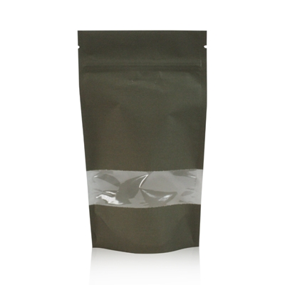 Lamizip Kraft Paper Stand Up Pouches with window 185 mm x 295 mm Dark green
