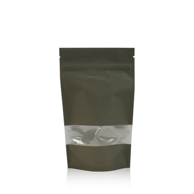 Lamizip Kraft Paper Stand Up Pouches with window 140 mm x 235 mm Dark green