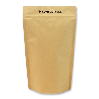 Kraft / PLA Compostable Stand Up Pouches 185 mm x 290 mm Brun