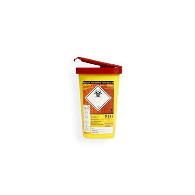 Daklapack-Safebox Needlecontainer MINI 0,25 ltr. 50 mm x 81 mm Yellow